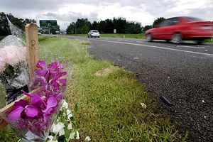 Roadside crosses mark the growth spot